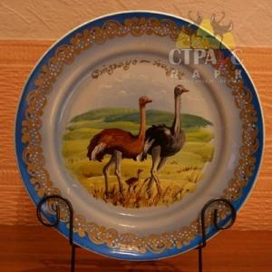 Тарелка расписная большая с изображением грациозных страусов